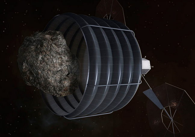 Asteroid Capture. Image source: Wikimedia commons